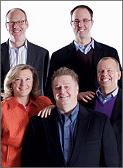 The Starcom team (top row, left to right): Steven Fueling, chief consumer officer, and Andrew Swinard, chief client officer. Bottom row: Kathy Ring, president-Los Angeles chief operating officer; John Muszynski, CEO; and Chris Boothe, chief activation officer.