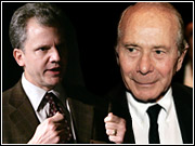 Arthur Sulzberger Jr. and Maurice R. 'Hank' Greenberg: So far, Gray Lady stays in the Ochs-Sulzberger family.