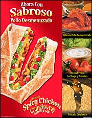 A Taco Bell Spanish-language print ad.