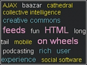 Clicking on a word in a tag cloud gives a list of related items, similar to a search result.