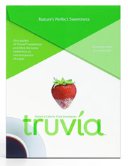 Truvia distinguishes itself from its blue-, yellow- and pink-packet siblings with a green-and-white motif.