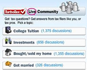 The TurboTax Live Community widget helped answer tax questions.