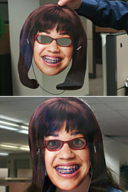 The new Ugly Betty paper mask enables anyone to instantly become a plain Jane.