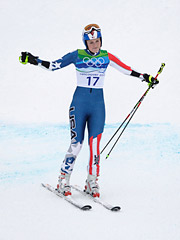 Lindsey Vonn acknowledges the crowd after taking a giant spill on the giant slalom run.