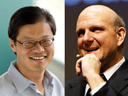 Microsoft CEO Steve Ballmer (right) called Yahoo CEO Jerry Yang last night to discuss the proposal.