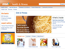 MSN Health & Fitness is the best of the portals, but it doesn't exactly jump off the screen.