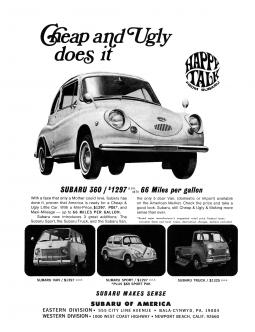 An early ad for the Subaru 360, a vehicle which debuted in the U.S. in 1968