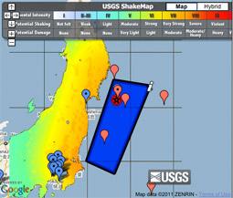 Google Map of Japan earthquake
