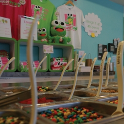Sweet Frog sells hats, T-shirts and plush toys of its frog mascot.