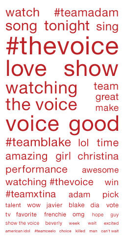 Word cloud showing popular terms in social-media chatter about 'The Voice'
