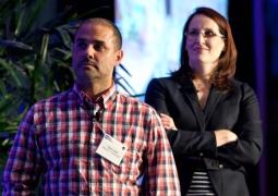 Gerry Graf (l.), founder of BFG9000, and Stephanie Retcho, VP-brand marketing of Kayak.
