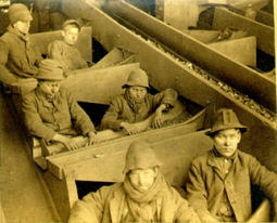 'Breaker boys' -- children who broke coal into manageable chunks by hand -- circa 1884