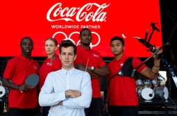 Mark Ronson with Coke athletes