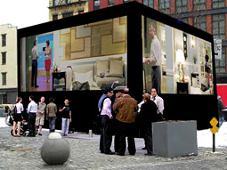 A video cube in lower Manhattan for the live event