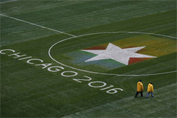 A pitch for the 2016 Summer Olympics at Soldier Field, home of the Bears.