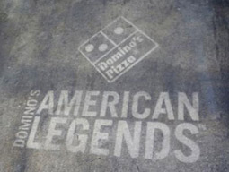 Logo-washed sidewalk