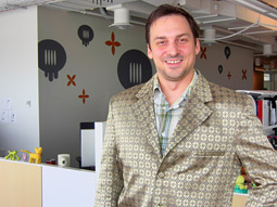 Monthly at SicolaMartin, the Gold Suit makes the rounds, recognizing big thinking in the creative department.