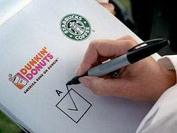 Check it out: Dunkin claims taste tests prove Joe public prefers its Joe over Starbucks.