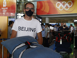 He started it: The masks made news when American cyclists wore them for their arrival in Beijing.