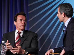 Gov. Arnold Schwarzenegger, with Time's Rick Stengel, gave a thumb's up to Gov. Sarah Palin as GOP VP nominee.