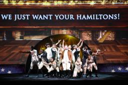 Late-night host James Corden performed a spoof of 'Hamilton' during the CBS upfront on Wednesday.