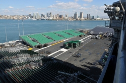 The deck of the USS Carl Vinson is prepared for the Quicken Loans Carrier Classic.