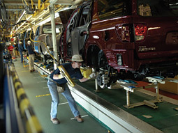All-American? This assembly line above may be in Princeton, Ind., but Toyota's multibillion-dollar profits still go to Japan.