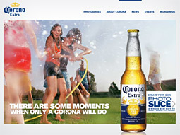 Corona's new website offers a 'Photoslice' function that lets users upload and share photos.