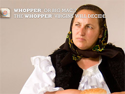 A series of ads directs the public to a 'Whopper Virgins' website, where web surfers can watch reactions to American fast food.