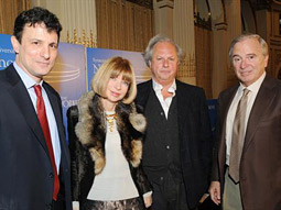 Conde Nast editors (from l.) David Remnick, Anna Wintour and Graydon Carter, with New Yorker media critic Ken Auletta, considered the future of print publications at a breakfast panel hosted by the S.I. Newhouse School of Public Communications.