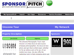 Sponsor Pitch, currently in closed beta but set for public release in the first quarter of 2009, hopes to feature an assortment of properties that extend far beyond music.