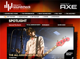 Bands like The All-American Rejects are featured alongside Unilever's products on Walmart shelves as well as the retailer's sponsored music portal, Soundcheck.