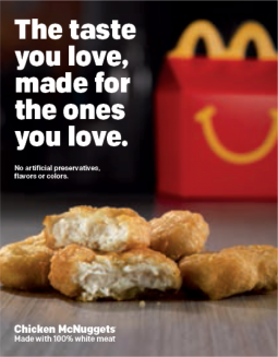 Promotion highlighting McDonald's natural nuggets.