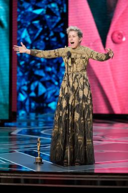 Frances McDormand, winner in the best actress category, at the Oscars on Sunday.