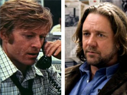 A DYING CINEMATIC BREED: Robert Redford and Russell Crowe as Hero Journalists.