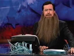 Stephen Colbert keeps it absurd with his own strike beard.