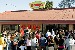 DID SOMEONE SAY FREE FOOD? Denny's Free Grand Slam Day aimed to cure brand malaise.