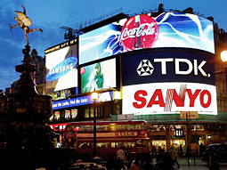 Be visible: Use local media to build global brands on a grand scale. Consider Times Square in New York, Roppongi in Tokyo and Piccadilly Circus in London (above). They're not as 'local' as you might assume.