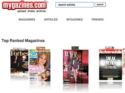 Mygazine is your gazine: Site allows people to read through page-by-page issue reproductions.