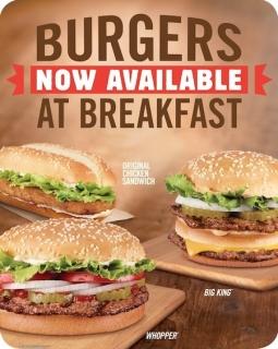 Burger King's Burgers at Breakfast