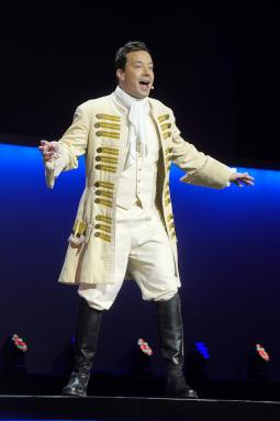 Jimmy Fallon performing a 'Hamilton' spoof during NBC's upfront presentation on Monday.