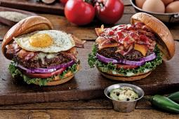 Chili's introduces two new burgers, (from left) the Sunrise and the Ultimate Bacon burgers.
