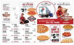 Toppers flyer featuring a Domino's truck