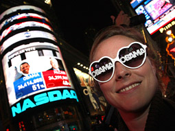 Happy: A supporter celebrates in Times Square