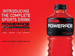 Pulling no punches: Powerade claims rival Gatorade just doesn't have it all.