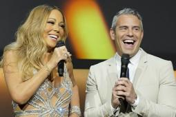 Mariah Carey, star of 'Mariah's World' on E!, and Andy Cohen, host of Bravo's 'Watch What Happens Live,' at the NBC Universal upfront presentation May 16.