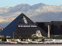 Luxor-y life: An Absolut ad on the Luxor hotel's pyramid greeted Vegas tourists.