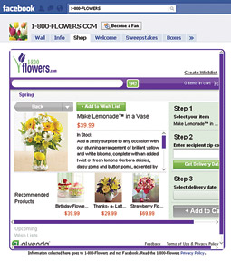 1-800-Flowers has an e-commerce platform within the social network.