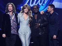 'American Idol' judges (l.) Steven Tyler, Jennifer Lopez, Randy Jackson and host Ryan Seacrest.