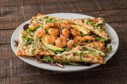 Margherita Flatbread Salad with Shrimp